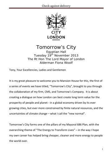 Tomorrow's City - the City of London Corporation