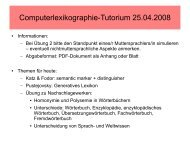 Computerlexikographie-Tutorium 25.04.2008