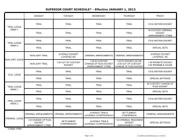 SUPERIOR COURT SCHEDULE* - Effective JANUARY 1, 2013