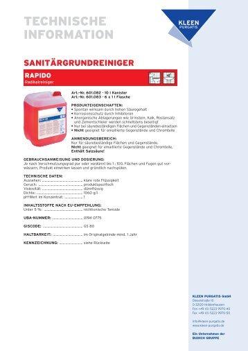 KLEEN Purgatis Rapido Radikalreiniger 1 L - Cleanscout.de
