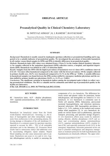 Preanalytical Quality in Clinical Chemistry Laboratory