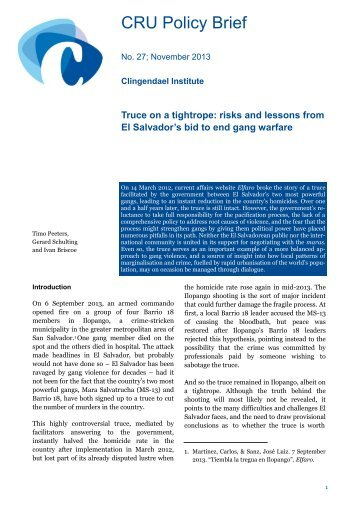 risks and lessons from El Salvador's bid to end gang ... - Clingendael