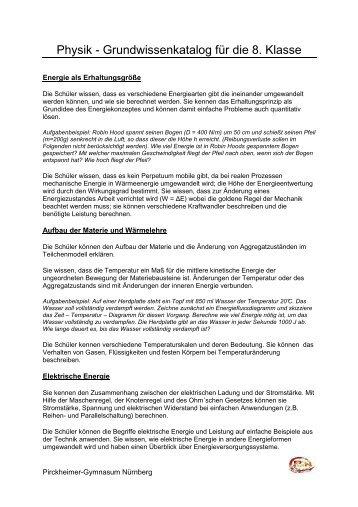 Grundwissen Physik 8. Jahrgangsstufe - Die Oberstufe am ...
