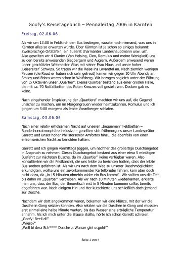 Goofys Reisetagebuch - KMV Clunia Feldkirch