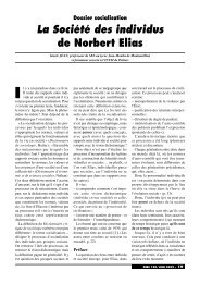 Dossier socialisation La Société des individus de Norbert Elias - Cndp