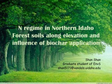 N regime in Northern Idaho Forest soils along elevation and biochar ...