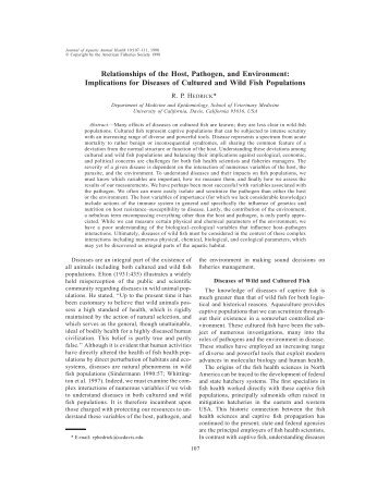 Relationships of the Host, Pathogen, and Environment: Implications ...
