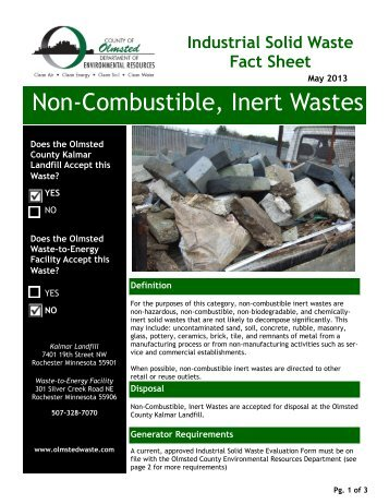 Non-Combustible, Inert Wastes - Olmsted County