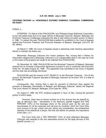 Ceferino Inciong vs. Hon. Eufemio Domingo. G.R. No. 96628 - July 3 ...