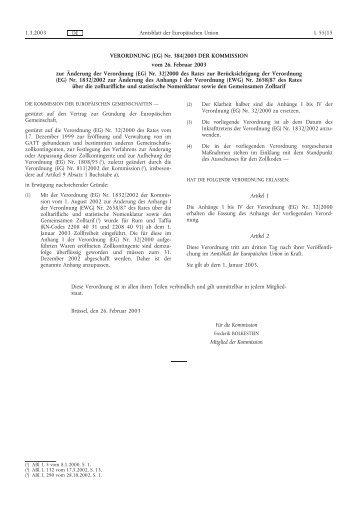 VERORDNUNG (EG) Nr. 384/2003 DER ... - Eur-Lex - Europa