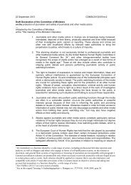 Draft Declaration - Council of Europe