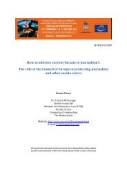 How to address current threats to journalism ... - Council of Europe