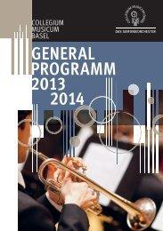 Konzertsaison 2013-2014 - Collegium Musicum Basel