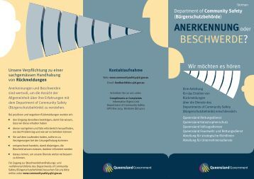 BESCHWERDE? - Department of Community Safety - Queensland ...
