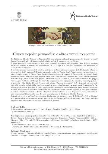 Canson popolar piemont`eise e altre canzoni ... - Città di Torino