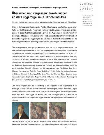 Fuggerorgel - context verlag Augsburg