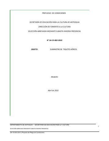 PREPLIEGOS BANDA LA CEJA SA-15-002-2010 - Portal Único de ...