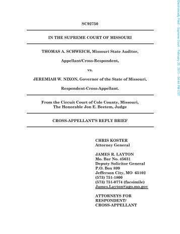 SC92750 IN THE SUPREME COURT OF MISSOURI THOMAS A ...