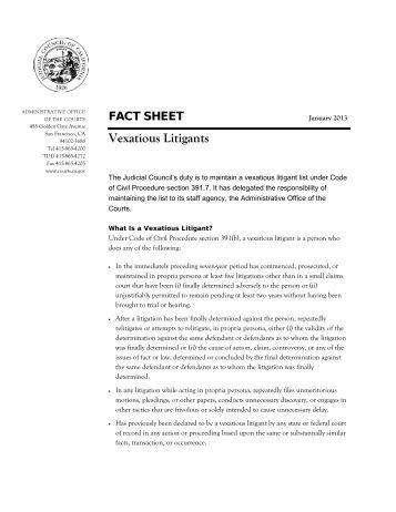 Vexatious Litigants - California Courts