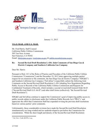 Read Joint Comments of San Diego Gas & Electric Company and ...