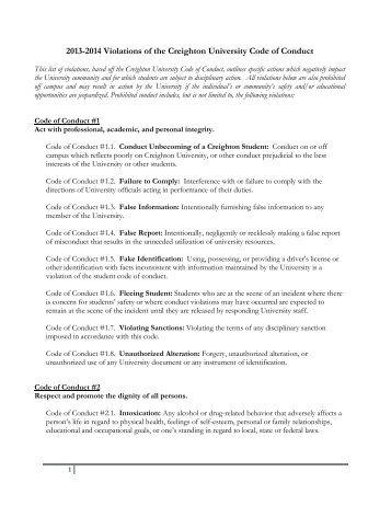 Student Conduct Policies - Creighton University