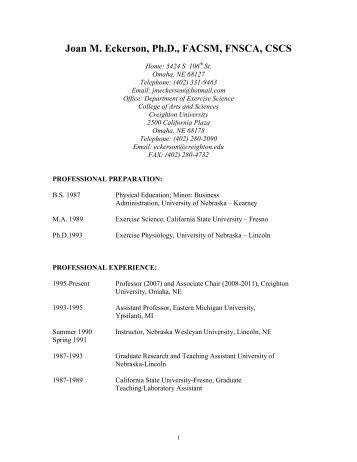 Curriculum Vitae - Creighton University