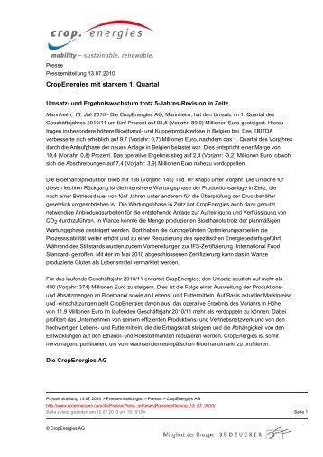 CropEnergies mit starkem 1. Quartal - CropEnergies AG