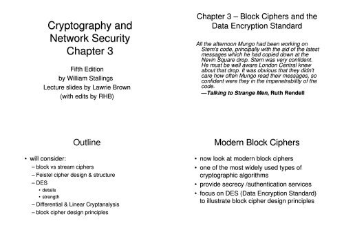 Cryptography and Network Security Chapter 3