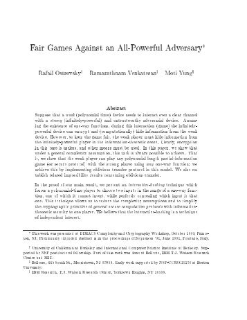 Fair Games Against an All-Powerful Adversary - UCLA Computer ...