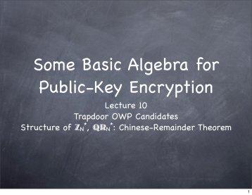 Some Basic Algebra for Public-Key Encryption