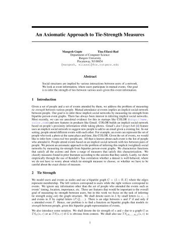 An Axiomatic Approach to Tie-Strength Measures - School of ...