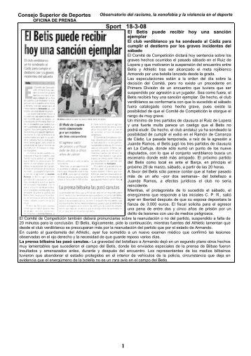 1 Sport 18-3-08 - Consejo Superior de Deportes