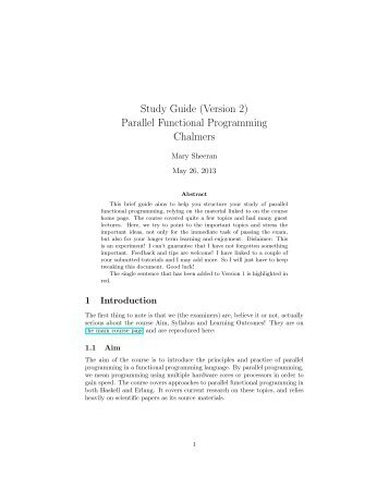Study Guide (Version 2) Parallel Functional Programming Chalmers