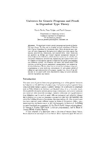 Universes for generic programs and proofs in dependent type theory