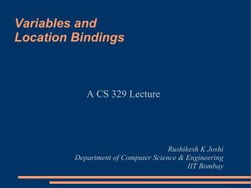 lectures on variables and bindings (includes pointers)