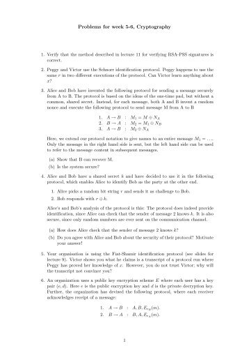 Problems for week 5-6, Cryptography