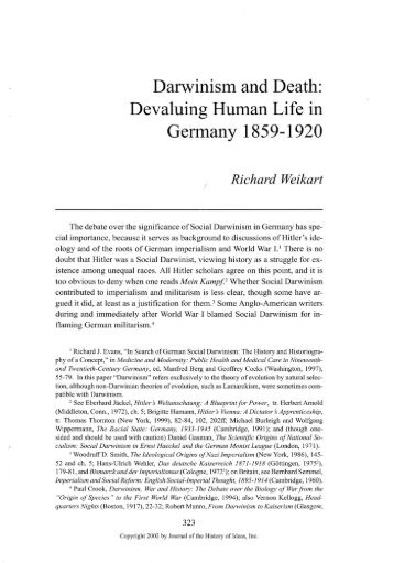 Darwinism and Death: Devaluing Human Life in ... - CSU Stanislaus