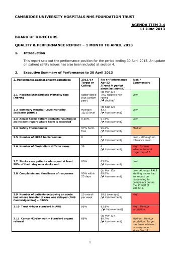 2.4 Summary quality and performance report: to April 2013