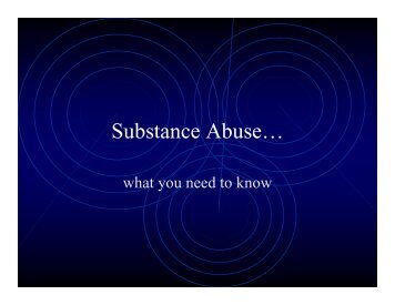 Substance Abuse…
