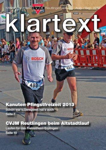 Klartext August/Septemper zum Herunterladen - CVJM Reutlingen eV