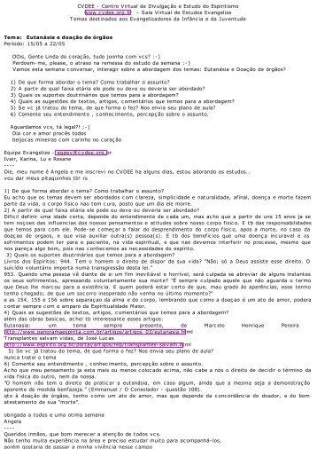 Tema: trabalhando Eutanásia (com vários textos e sugestao ... - cvdee