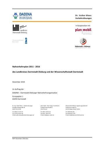 Nahverkehrsplan 2011-2016 (PDF, 3,0MB) - Dadina