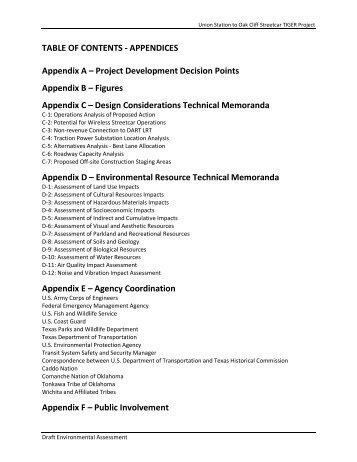 TABLE OF CONTENTS - APPENDICES Appendix A ... - City of Dallas