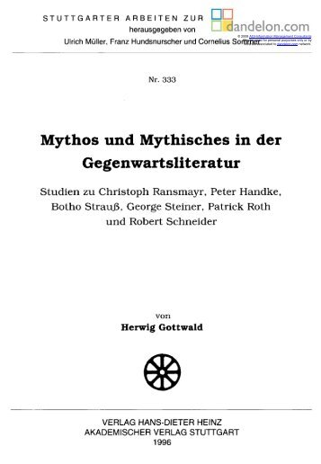 Mythos und Mythisches in der Gegenwartsliteratur