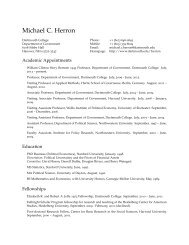 Michael C. Herron: Curriculum Vitae - Dartmouth College