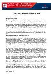 Zugangsschutz durch Single-Sign-On - Hamburgische Beauftragte ...