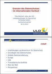 Grenzen des Datenschutzes - im internationalen Kontext -