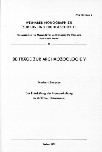 BEITRÄGE ZUR ARCHÄOZOOLOGIE V