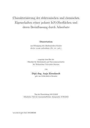 Charakterisierung der elektronischen und chemischen ...