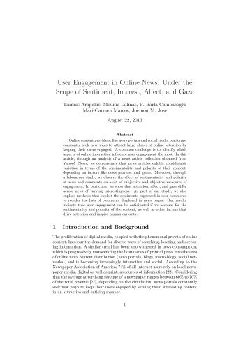 User Engagement in Online News - School of Computing Science